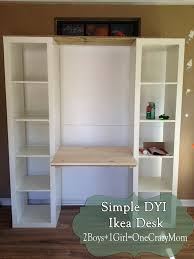 here s a cool way to build a custom ikea desk unit take 2 billy bookcases with doors add a vika table top with a drawer in between mount 2 l