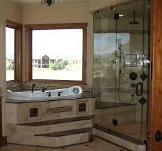 Bathroom Design Ideas, Marble Top Material Shiny Corner Tub Bathroom Designs  Glass Shower Booth Outside