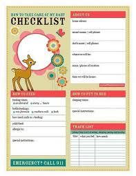 babysitter information sheet printable baby love babysitter checklist printable pdf baby pinterest