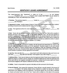 Kentucky Residential Lease/rental Agreement Forms | Free Pdf
