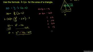 quadratic equations word problem triangle dimensions khan academy