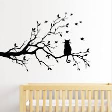 cat on long tree branch diy vinyl wall sticker birds decal art home decor
