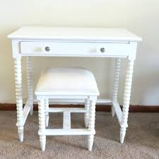 small makeup wooden vanity table without mirror with double drawer and painted with white color plus stool with white fabric cover seat ideas vintage vanity