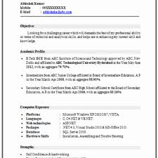 Resume Template Fresher Resume Format For A Fresher Unique Alluring Latest Resume Templates 11