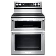 kitchen aid double oven inch electric double oven convection range in stainless steel kitchen aid double oven kitchen