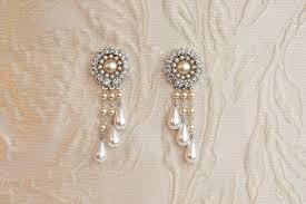bridal chandelier earrings bridal jewelry wedding earrings drop vintage pearl earrings rhinestone