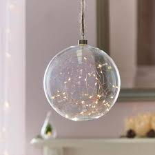 glass ball lighting. Plug In Glass Hanging Ball With Copper Micro Naked Wire Lights, 20cm Glass Ball Lighting