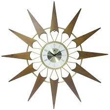 nova starburst mid century modern inch large wall clock by infinity instruments elgin