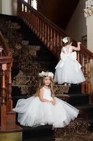 Designer Flower Girl Dresses Uk Lovely Children Dresses For Girls Appliques Lace Princess Flower Girl Dresses White Ivory Backless Birthday Dress Girl Gown With Bow Knot Toddler