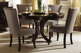 contemporary round dining room sets. elegant formal dining room design with espresso finish round dinette sets, dark brown white fabric contemporary sets