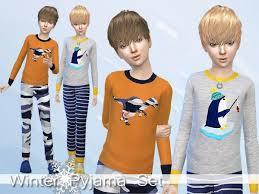 the sims resource winter pyjama set