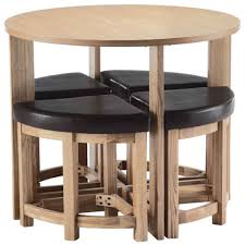 compact furniture for small spaces. Round Unvarnished Wooden Space Saver Kitchen Table Added By Four 1/4 Stool With Black Leather Seat For You Compact Furniture Small Spaces E