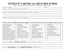 Family Health History Chart Past Medical History Template Form Classical And Physical