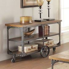 Vintage sofa table Entryway Vintage Sofa Table Industrial Reclaimed Wood Living Room Contemporary Wheels Imall Industrial Wood Sofas Tables Ebay