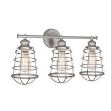 Bathroom vanity lighting design High End Ajax Collection 3light Galvanized Indoor Vanity Light The Home Depot Design House Ajax Collection 3light Galvanized Indoor Vanity Light