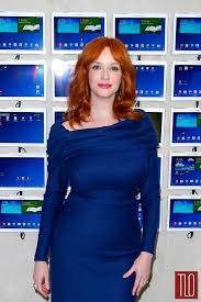 christina hendricks red hair blue zac posen dress