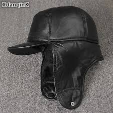 <b>XdanqinX</b> Genuine Leather Hat For <b>Men Winter</b> Warm Bomber Hats ...