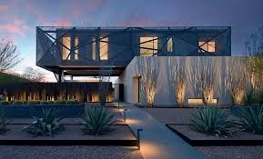 view in gallery brilliantly lit contemporary landscape around sculptural las vegas home design assemblage studio