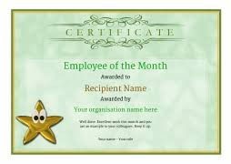 Star Of The Month Certificate Template Employee Of The Month Certificate Free Well Designed Templates