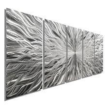 vortex 5 five panel silver modern abstract metal wall art by jon allen 64 x 24