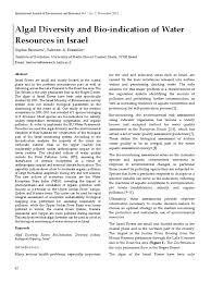 Algal Diversity and Bio-indication of Water Resources in Israel ...