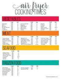 Vegetable Cooking Time Chart Printable Cheat Sheet For Air Fryer Oven