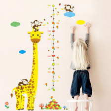 Monkey Growth Chart Wall New Animals Monkey Giraffe Height Measure Wall Stickers For Kids Rooms Poster Growth Chart Home Decor Wall Stickers For Kids Bedrooms Wall Stickers