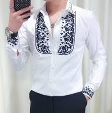 Mens Shirts With Embroidery Design Black White Embroidery Flower Design Men Long Sleeves Shirt