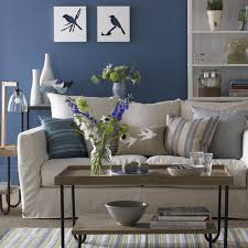 blue and white furniture. Blue-living-paint-room-with-white-linen-sofa Blue And White Furniture