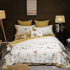 yellow white luxury egyptian cotton oriental bedding sets queen king size embroidery bed duvet cover bed sheets linen set queen size duvet duvet sets