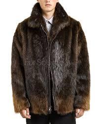 mid length beaver fur coat for men
