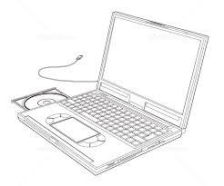 ノートパソコン白黒線画 イラスト素材 2470255 無料 フォト