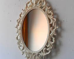 Ornate Princess Mirror in Shiny Silver 13 by 10 Inch Vintage