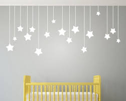 17pcs hanging stars wall stickers for kids room white star baby on star wall art designs with wall art designs nursery for baby room black