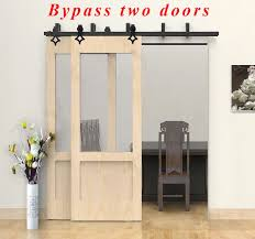 4ft 20ft bypass double barn door hardware set for two doors