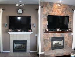 fireplace remodel with stone