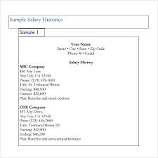9 Sample Salary History Templates To Download For Free Sample