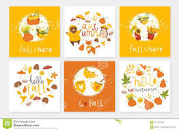 Set Of 6 Cute Autumn Postcards With Animals Stock Vector