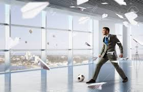Playing Office Soccer Stock Photo Picture And Royalty Free Image
