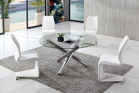 branseo clear round glass dining table with amrose dining chairs