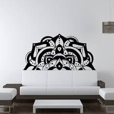 half mandala wall decals sticker fashion bedroom decor boho bohemian art yoga namaste art headboard wall on mandala wall art with half mandala wall decals sticker fashion bedroom decor boho bohemian