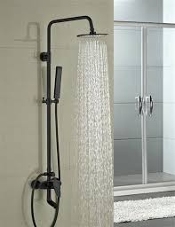 round style oil rubbed bronze shower faucet set single handle tub mixer tap w hand sprayer
