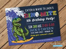 Dinosaur Birthday Invitation Surfing Dinosaur Invitation Dinosaur Birthday Invitation