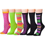 Tipi Toe <b>Women's 12 Pairs</b> Colorful Patterned Crew Socks at ...