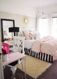 Black, white and pink bedroom, stripes