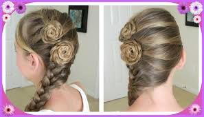 Flower Hair Style flower accented side french braid spring hairstyles bonita 2443 by wearticles.com