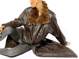 sixth sense ledermantel mit pelzfutter kaninchen coat fur coat fur lined coat