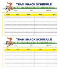 Team Snack Schedule Template Team Schedule Template 10 Free Word Excel Pdf Format