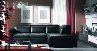 ... Living Room, Living Room Ideas Awesome Black Leather Sectional L Shaped  Couch Feat Red Curtains ...