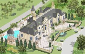 French Mansions Designs Garages To Side French Mansion Mansion Plans Luxury